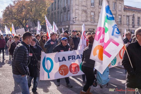 La France insoumise prend le pas dans le cortège de la manifestation intersyndicale contre les réformes libérales de Macron. Cours d'Albret, Bordeaux, 16/11/2017