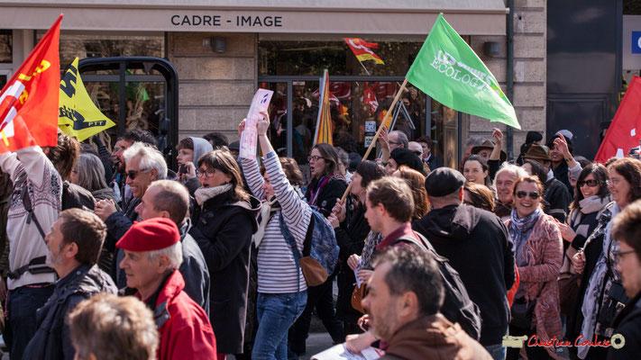 14h45 Les jeunes écologistes. Manifestation intersyndicale de la Fonction publique/cheminots/retraités/étudiants, place Gambetta, Bordeaux. 22/03/2018