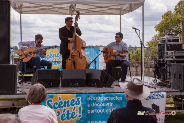 Swing Home Trio : Bruno Debord, Olivier Cherbit, Ugo Leduc. Festival JAZZ3602019, Camblanes-et-Meynac. 08/06/2019