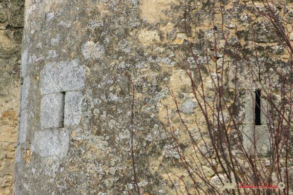 Deux des trois meurtrières défensives de la tour ronde du XVIIème siècle. Château de Montignac, Cénac. 02/03/2008