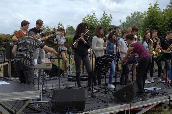 Festival JAZZ360, Alexandre Andujar et Charlotte Léric, techniciens son en action, Cénac, 12/06/2015