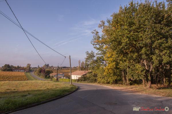 En direction du Garde et de Cénac, l'avenue de Mons. (Sur la droite débouche l'allée Gabrielle). Cénac, Gironde. 16/10/2017