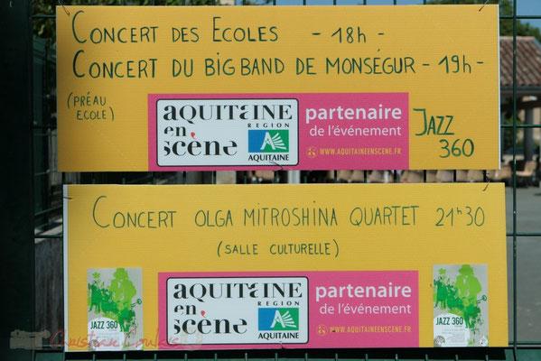 Fléchage dans le bourg des lieux du Festival JAZZ360 2011, Les coulisses du Festival à Cénac. 01/06/2011