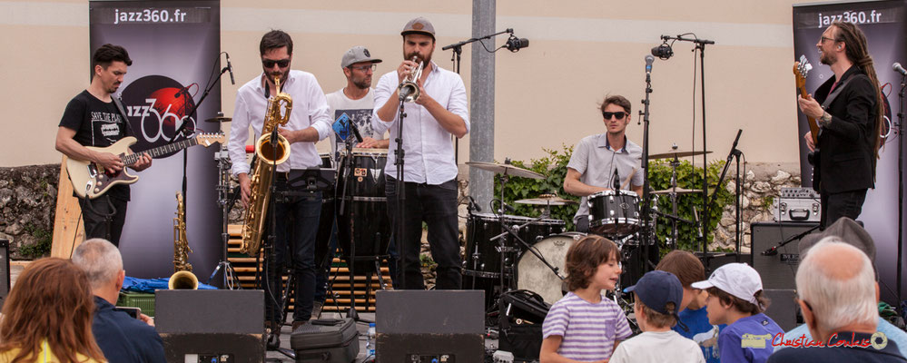 Denis Cornardeau, François-Marie Moreau, Ludo Lesage, Pierre-Jean Ley, Simon Renault, Geoffrey Shob Neau;  Shob & Friends. Festival JAZZ360 2018, Quinsac. 10/06/2018