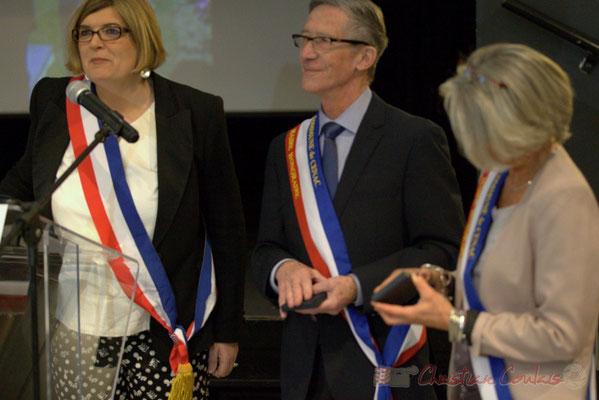 Catherine Veyssy, Gérard Pointet, Simone Ferrer, maires de Cénac; Honorariat des anciens Maires de Cénac, vendredi 3 avril 2015