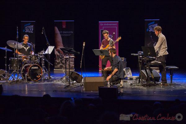 Gaétan Diaz, Ouriel Ellert, Julien Dubois, Simon Chivallon, quartet Le JarDin. Tremplin Action Jazz 2017. Le Rocher de Palmer