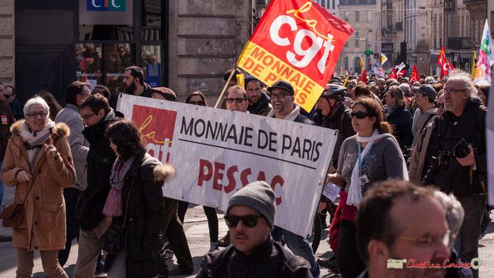 14h51 CGT Monnaie de Paris, Pessac. Manifestation intersyndicale de la Fonction publique/cheminots/retraités/étudiants, place Gambetta, Bordeaux. 22/03/2018