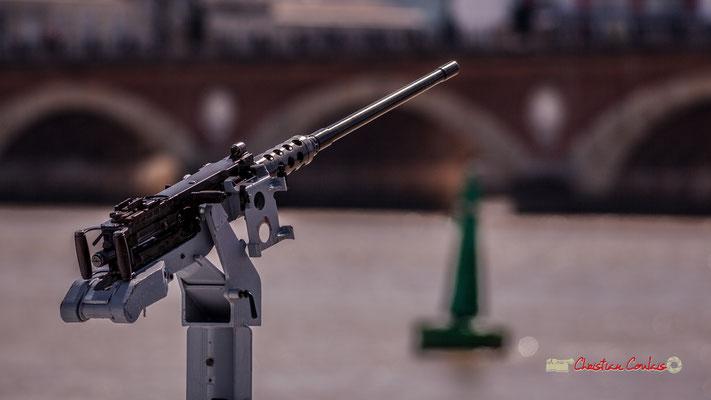 Une des deux mitrailleuse du patrouilleur côtier de la gendarmerie maritime, le Géranium. Bordeaux, 22/06/2019 Reproduction interdite - Tous droits réservés © Christian Coulais