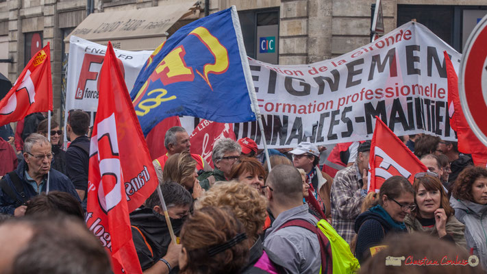FO Fédération de la Gironde enseignement...formation professionnelle...ordonnances...maintient...Manifestation contre la réforme du code du travail. Place Gambetta, Bordeaux, 12/09/2017
