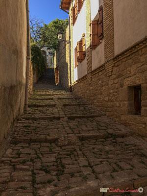 Voie pavée, sans issue, proche de l'église Santa Maria, Tafalla, Navarre / Carretera pavimentada, sin salida cerca de la iglesia de Santa María, Tafalla, Navarra