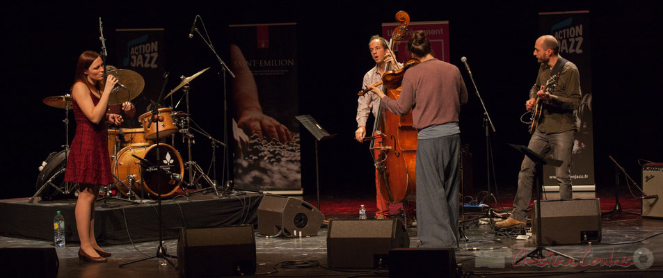 Tom Peyron, Camille Durand, Thomas Julienne, Boris Lamerand, Thomas Saint-Laurent du quintet Theorem of Joy. Tremplin Action Jazz 2017. Le Rocher de Palmer