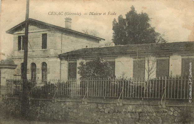 Mairie-Ecole 1915-1925. Cénac d'antan. Collection Jean-Pierre Couthouis