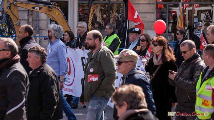 14h36 FO Fonction publique. Manifestation intersyndicale de la Fonction publique/cheminots/retraités/étudiants, place Gambetta, Bordeaux. 22/03/2018