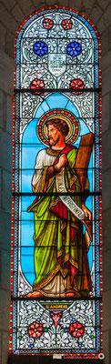 Détail vitrail Saint-André, don de Mr Largeteau, curé de Cénac, 1876. Eglise Saint-André, Cénac. 11/05/2018