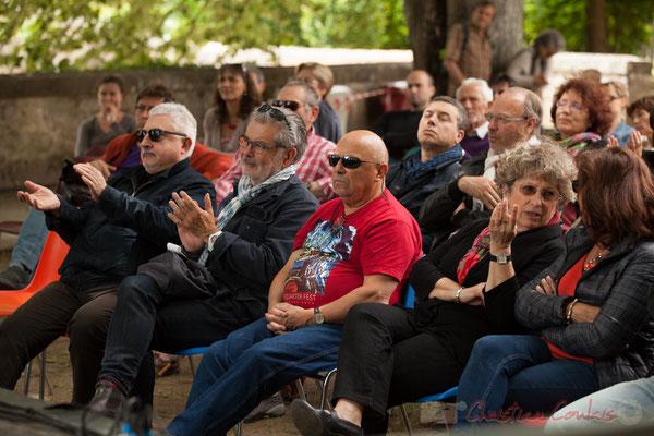 Dom Imonk, Philippe Desmond, Alain et Irène Piarou, l'équipe d'Action Jazz, partenaire de JAZZ360, présent à chaque concert. Camblanes-et-Meynac, 11/06/2016