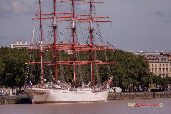 Le STS Sedov, quatre-mâts barque de 117 m. C'est le plus grand voilier russe et le plus grand voilier navire-école du monde. Bordeaux, 22/06/2019 Reproduction interdite - Tous droits réservés © Christian Coulais
