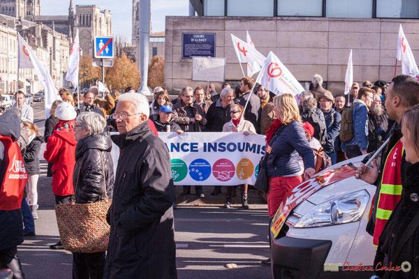 CGT / La France insoumise. Manifestation intersyndicale contre les réformes libérales de Macron. Cours d'Albret, Bordeaux, 16/11/2017