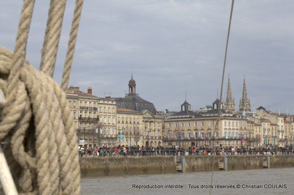 Cordages et quai Louis XVIII. Gabare les Deux Frères, Bordeaux, samedi 16 mars 2015