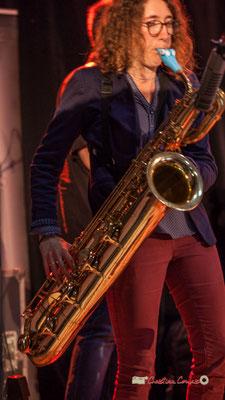 Saxophone baryton de Marina Moureau; Docteur Nietzsche fait son grand huit, Festival JAZZ360 2019, Saint-Caprais-de-Bordeaux. 05/06/2019