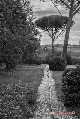 Allée entre le pigeonnier et le verger du Domaine de Malagar. Centre François Mauriac, Saint-Maixant. 28/09/2019 Reproduction interdite - Tous droits réservés © Christian Coulais
