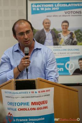 Christophe Miqueu, candidat la France insoumise sur le 12ème circonscription de la Gironde avec le rassemblement de la Gauche, 14 juin 2017, Créon