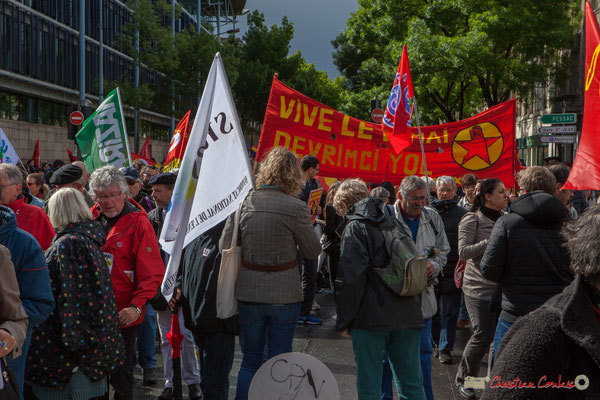 """""""Vive le 1er mai, Devrimci Yol"""" Manifestation du 1er mai 2017, avec la France Insoumise, cours d'Albret, Bordeaux"""