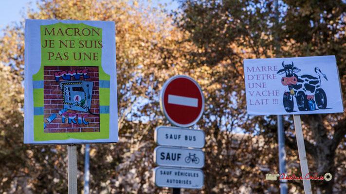 """""""Macron je ne suis pas une pompe à fric"""" """"Marre d'être une vache à lait"""" Manifestation nationale des gilets jaunes. Place de la République, Bordeaux. Samedi 17 novembre 2018"""