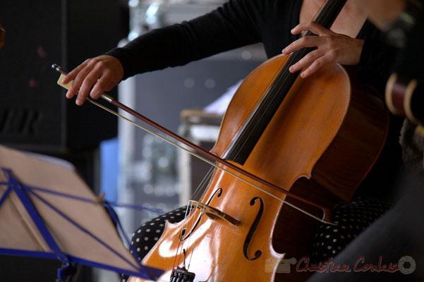 Festival JAZZ360 2013, violoncelle de Julie Läderach; Serge Balsamo Quartet, Quinsac. 09/06/2013