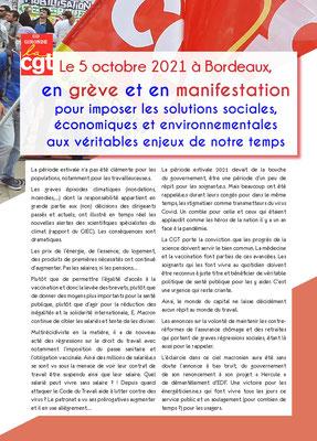 Tract syndical C.G.T. page 1, manifestation du mardi 5 octobre 2021