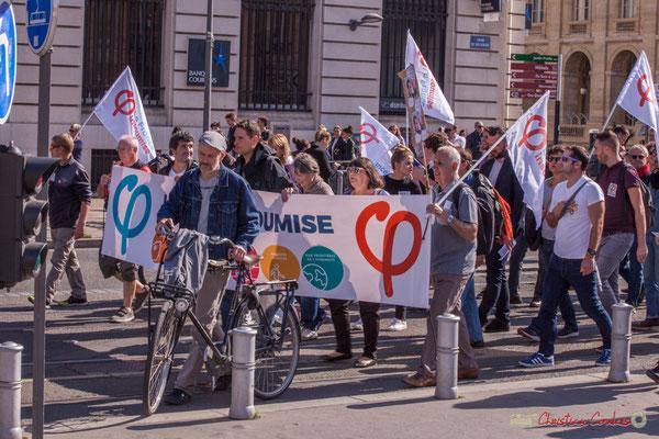 France insoumise. Manifestation intersyndicale de la Fonction publique, place de la Comédie, Bordeaux. 10/10/2017
