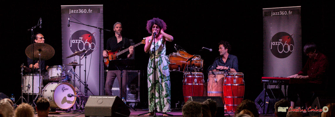 Gaétan Diaz, Thomas Labadens, Mayomi Moreno, Lionel Galletti, Michaël Geyre; Mayomi Moreno Project. Festival JAZZ360 2018, Latresne. 10/06/2018