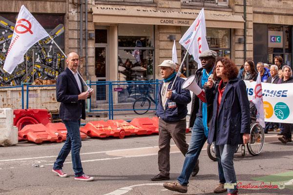 11h00 Loïc Prud'homme, Mamadou Niang et les militants la France insoumise scandent les slogans. Place Gambetta, Bordeaux. 01/05/2018