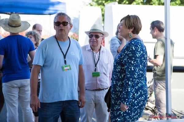 Richard Raducanu, Président de l'association JAZZ360, Pierre Cazenave, bénévole, Catherine Veyssy, Maire de Cénac. Festival JAZZ360, 10 juillet 2017