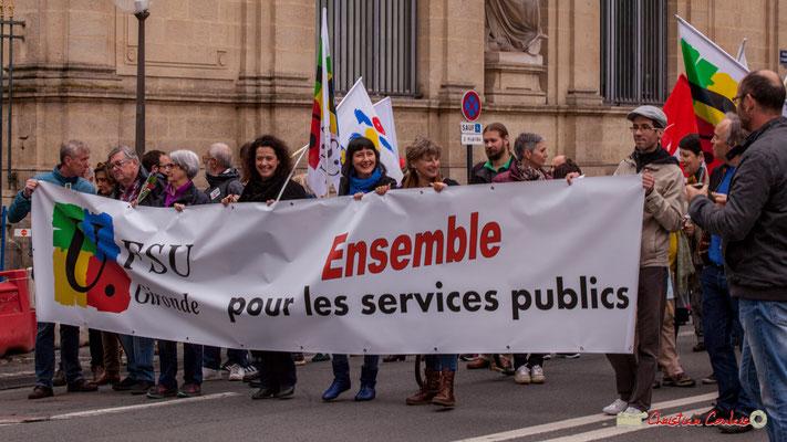 """10h34 FSU Gironde """" Ensemble pour les services publics"""" Cours d'Albret, Bordeaux. 01/05/2018"""