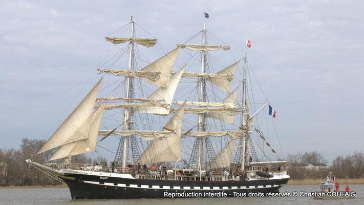Le Belem est un des plus anciens trois-mâts en Europe en état de navigation. Bordeaux, samedi 16 mars 2013