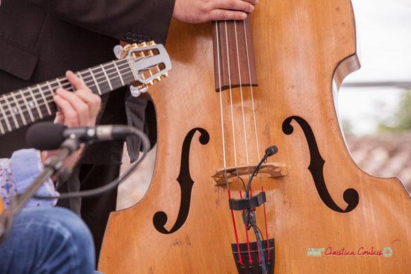 Contrebasse d'Olivier Cherbit; Swing Home Trio. Festival JAZZ3602019, Camblanes-et-Meynac. 08/06/2019