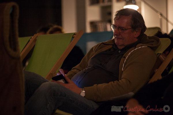 Jean-Bernard Fourmy, dans ses prises de notes. Le Rocher de Palmer, 12/12/2015. Reproduction interdite - Tous droits réservés © Christian Coulais