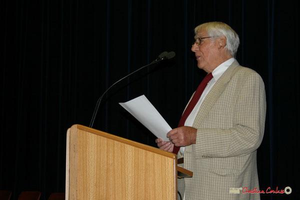 Guy Georges, secrétaire général du Syndicat national des instituteurs (1976-1983), militant associatif, Pt de l'association Solidarité laïque, Pt du CCOMCEN, ancien conseiller d'État en service extraordinaire. Créon, 19/06/2010