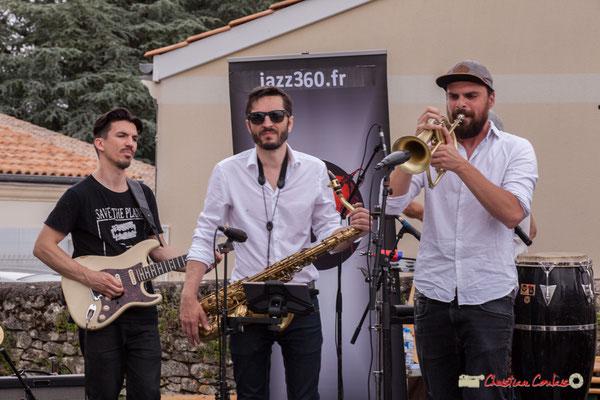 Denis Cornardeau, François-Marie Moreau, Pierre-Jean Ley; Shob & Friends. Festival JAZZ360 2018, Quinsac. 10/06/2018