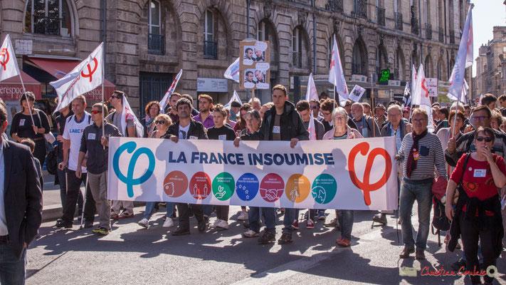Tête de file, bannière la France insoumise. Manifestation intersyndicale de la Fonction publique, place Gambetta, Bordeaux. 10/10/2017