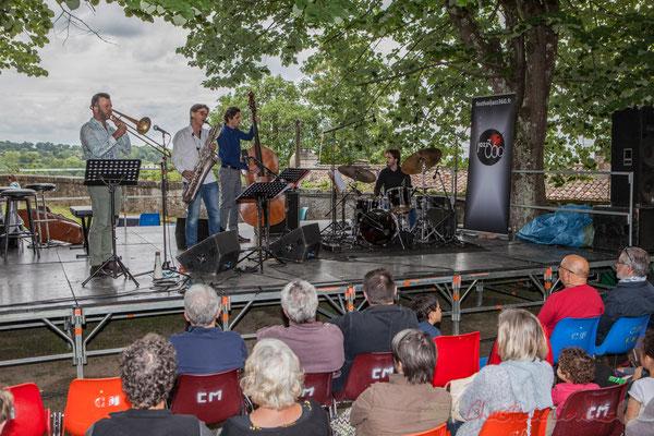 Eric Séva Quartet : Daniel Zimmermann, Eric Séva, Kevin Reveyrand, Matthieu Chazarenc. Festival JAZZ360 2016, Camblanes-et-Meynac, 11/06/2016