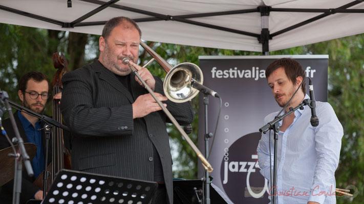 Alexis Valet Quartet : Aurélien Gody, Sébastien Arruti, Alexis Valet. Festival JAZZ360 2016, Quinsac, 12/06/2016