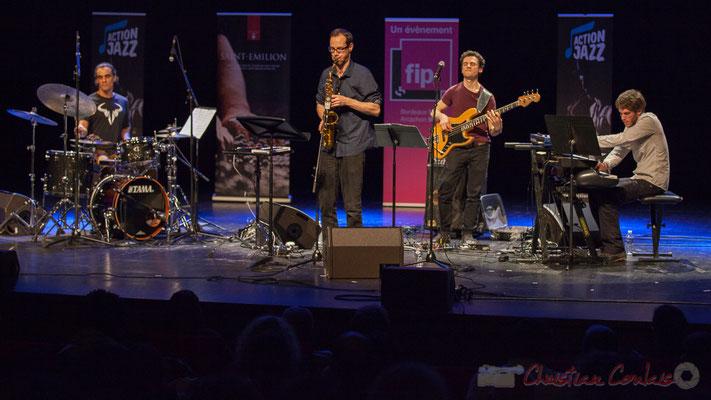 12 Gaétan Diaz, Julien Dubois, Ouriel Ellert, Simon Chivallon, quartet Le JarDin. Tremplin Action Jazz 2017. Le Rocher de Palmer