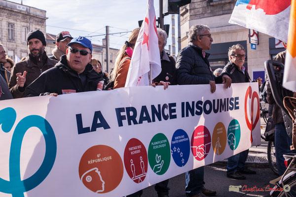 Bannière et ses porteurs de la France insoumise. Manifestation intersyndicale contre les réformes libérales de Macron. Cours d'Albret, Bordeaux, 16/11/2017