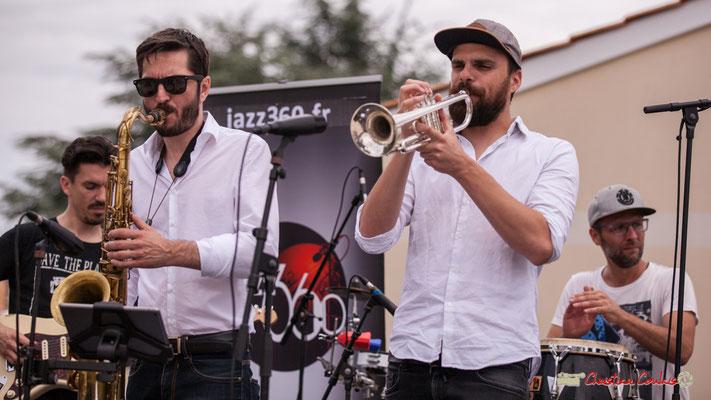 Denis Cornardeau, François-Marie Moreau, Pierre-Jean Ley, Ludo Lesage; Shob & Friends. Festival JAZZ360 2018, Quinsac. 10/06/2018