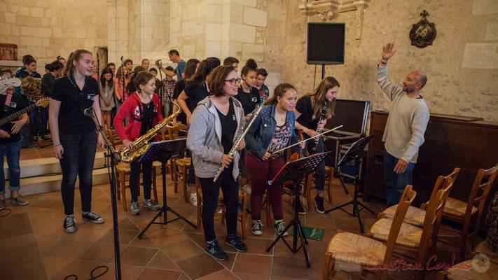Le Big Band Jazz du Collège Eléonore d'Aquitaine de Monségur accompagne la Chorale jazz de l'école de Le Tourne. Festival JAZZ360 2016, 10/06/2016