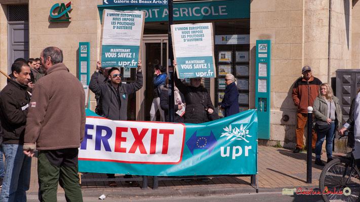 """""""Frexit"""" Contre manifestants de l'U.P.R. Manifestation intersyndicale de la Fonction publique/cheminots/retraités/étudiants, cours d'Albert, Bordeaux. 22/03/2018"""