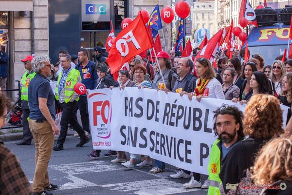 """F.O. """"Pas de république sans service publique"""" Manifestation intersyndicale de la Fonction publique, place Gambetta, Bordeaux. 10/10/2017"""
