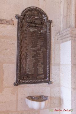 Plaque de souvenir aux Morts pour la France, guerre de 1914-1918. Eglise Saint-André, Cénac. 28/04/2018