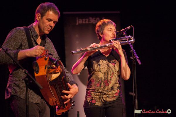 Gilles Chabanat, vielle électroacoustique, Anne Colas, flûte basse en ut; Clax Quartet. Festival JAZZ360 2018, Cénac. 09/06/2018